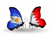 Two Butterflies With Flags On Wings As Symbol Of Relations Argentina And Bahrain