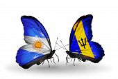 Two Butterflies With Flags On Wings As Symbol Of Relations Argentina And Barbados