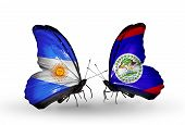 Two Butterflies With Flags On Wings As Symbol Of Relations Argentina And Belize