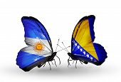 Two Butterflies With Flags On Wings As Symbol Of Relations Argentina And Bosnia And Herzegovina