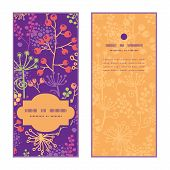 Vector colorful garden plants vertical frame pattern invitation greeting cards set