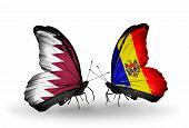 Two Butterflies With Flags On Wings As Symbol Of Relations Qatar And Moldova