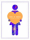 Vector colorful garden plants woman in love silhouette frame pattern invitation greeting card templa