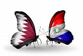 Two Butterflies With Flags On Wings As Symbol Of Relations Qatar And Paraguay