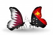 picture of papua new guinea  - Two butterflies with flags on wings as symbol of relations Qatar and Papua New Guinea - JPG