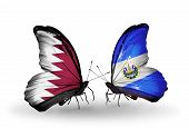 Two Butterflies With Flags On Wings As Symbol Of Relations Qatar And  Salvador