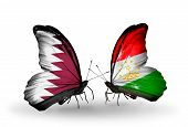 Two Butterflies With Flags On Wings As Symbol Of Relations Qatar And Tajikistan