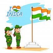 image of salute  - illustration of kids saluting Indian flag - JPG