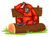 Illustration of an orangutan sitting on a log