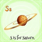 Illustration of a letter s is for saturn
