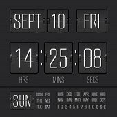 stock photo of analogy  - Analog black scoreboard digital week timer - JPG
