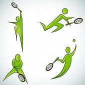 An image of a tennis player icon set.