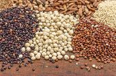 sorghum, red and black quinoa, and other glyuten free grains (millet, brown rice, buckwheat, teff)