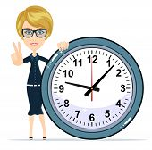 Smiling modern business woman showing victory gesture and standing with a big clock