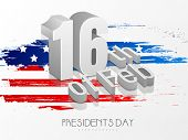 Glossy 3D text 16th Of Feb on American Flag colors background for Presidents Day celebration.
