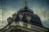 Old Photo With Facade On Classical Building. Belgrade, Serbia