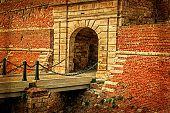 Fortress Wall With Bridge At Entrance