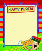 foto of purim  - Cheerful Happy Purim sign with Purim elements and blank area for text in the center - JPG