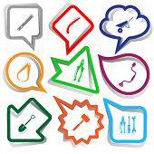 Industrial tools set. Paper stickers. Vector illustration.