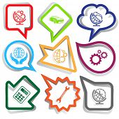 Business set. Paper stickers. Vector illustration.