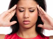 Stressed young woman worried girl suffering from head pain isolated on white. Headache and migraine.