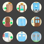 Colored icons vector collection of entrance doors