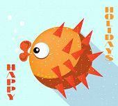 Card with orange fish, blue background, flat style, text Happy Holidays