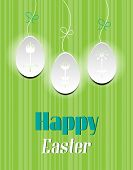 Card with text Happy Easter, three white eggs