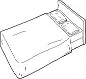 Outlined Bed Illustration