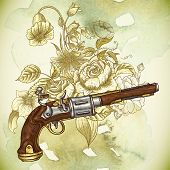Vintage card with a gun and flowers