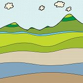pic of cross-section  - Blank water table mountain cross section drawing - JPG