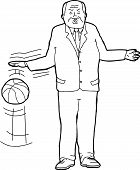 pic of bouncing  - Cartoon outline of tough businessman bouncing basketball - JPG