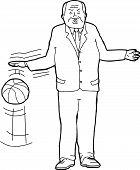 stock photo of bouncing  - Cartoon outline of tough businessman bouncing basketball - JPG