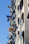 Drying Laundry On Bamboo Poles In Singapore