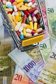 tablets, shopping cart, swiss franc, symbolic photo for drugs, health insurance, health care costs