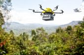 stock photo of drone  - 3d image of futuristic delivery drone - JPG