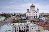 Cathedral of Christ the Saviour against the gray sky in the city