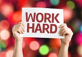 Work Hard card with colorful background with defocused lights