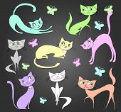 Set beautiful cats and butterflies on a gray background