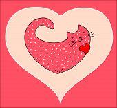Funny cat in a heart shape