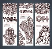 Vector set of banners with ethnic and yoga symbols