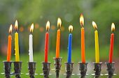 picture of hanukkah  - Hanukkah menorah lit with eight candles at the last day of Hanukah - JPG