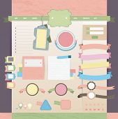 Vintage Web And Tags Design Layout In Old Pastel Color, Create By Vector
