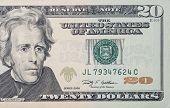 pic of twenty dollars  - Macro shot of 20 US dollars bill - JPG