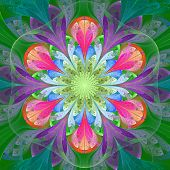 Symmetrical Pattern In Stained-glass Window Style. Green, Blue And Pink Palette. Computer Generated