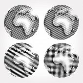 vector raster globes in four variations
