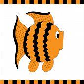 Funny orange fish with black stripes