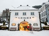 Bergen, Norway - December 29, 2014: Starting point travel to Mount Floyen - building cable Floibanen at Christmas