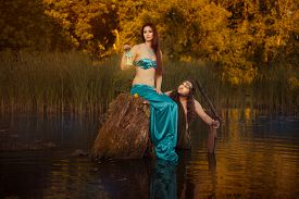 stock photo of undine  - Fairytale sad woman sitting on a stump in the marshes in the back looks fabulous man - JPG