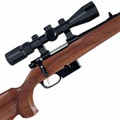 image of rifle  - Side shot of an old fashioned sport rifle - JPG